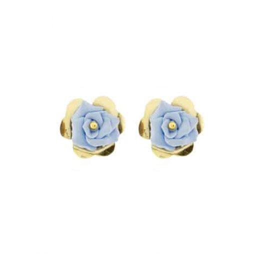pendientes fiesta dorados y flor azul lavanda
