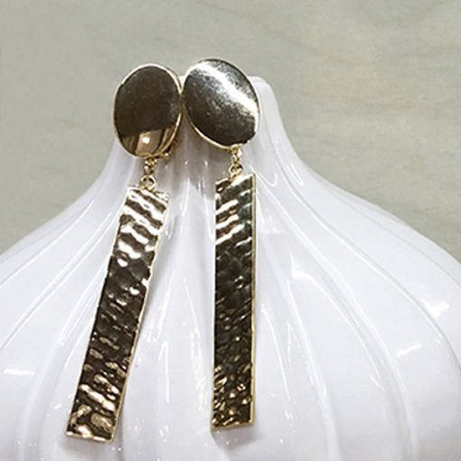 pendientes geométricos boda dorados colgantes largos invitada fiesta diseño original
