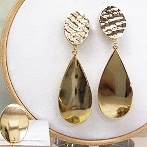 pendientes de boda geométricos dorados con gotas colgantes