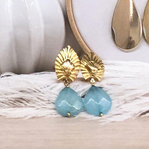 pendientes dorados invitada fiesta azules verdeagua mint
