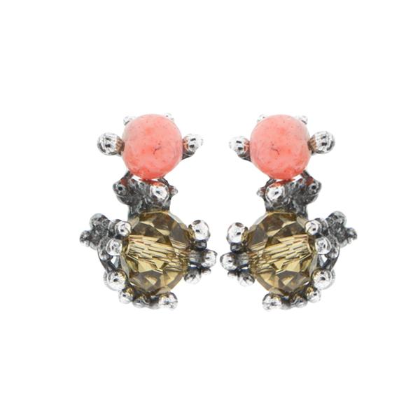pendientes cortos plateados sencillos boda baratos elegantes coral