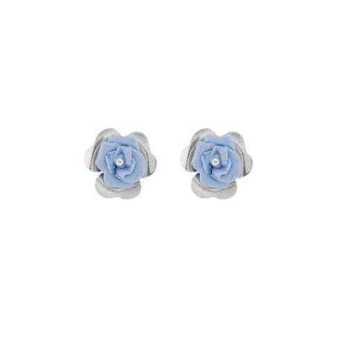 pendientes discretos boda invitada flor azul lavanda y plata diseño original