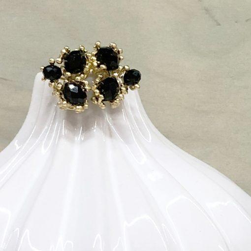 pendientes cortos boda noche hoja dorada y cristal negro