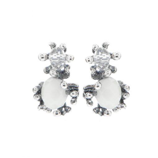 pendientes novia sencillos diseño original plata con cristal