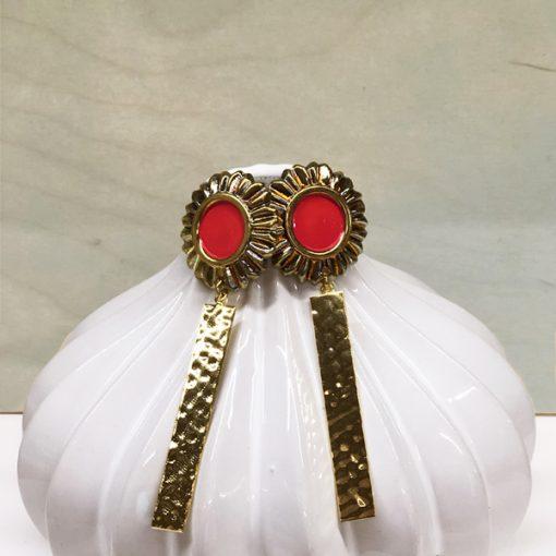 pendientes originales de boda dorados y rojos coral para comprar online