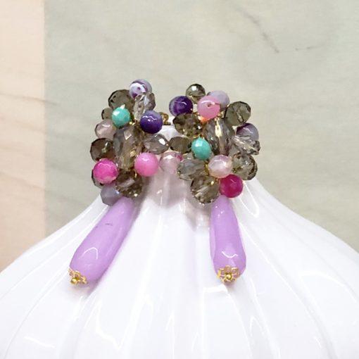 pendientes largos grandes invitada fiesta boda lila morado lavanda