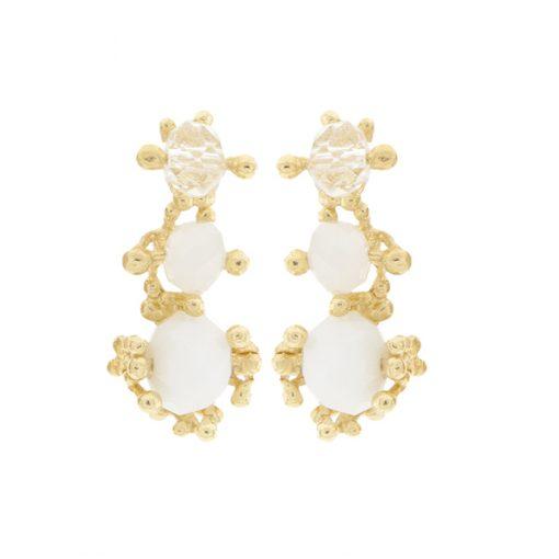 pendientes de boda para novia en dorado y cristal blanco
