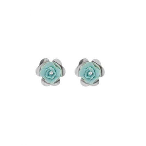 pendientes pequeños cortos invitada boda flor plateada y porcelana azul