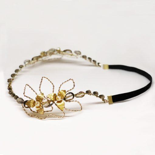 tocado diadema tiara de metal piedras y cristal para invitadas boda fiesta