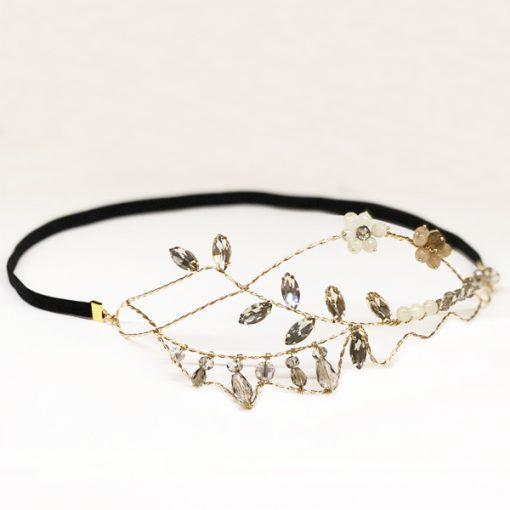 tocado diadema dorada para invitadas boda adorno pelo cristal swarovski gris vintage