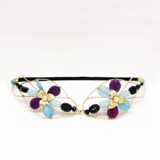 diadema flores boda dorada con piedras y cristal azul, morado y negro cinta terciopelo
