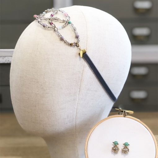 tocado diadema para bodas accesorios pelo adorno piedras cristal gris y verde