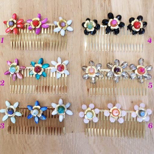 adornos para el pelo con peineta de flores para invitadas de boda