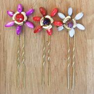 adorno accesorios horquillas pelo rojo coral fucsia