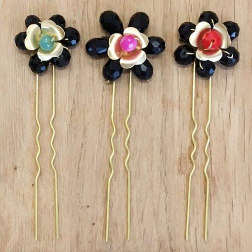 horquillas de flores negras para adornos de pelo con cristal Swarovski