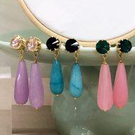pendientes largos de gota colgante con piedras morados azule turquesa rosas cuarzo verdes negro