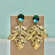 pendientes moda mujer originales de boda con hoja dorada y cristal swarovski verde esmeralda