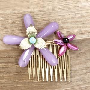 accesorios pelo peinetas adorno con flores piedras fucsias buganvilla y lila