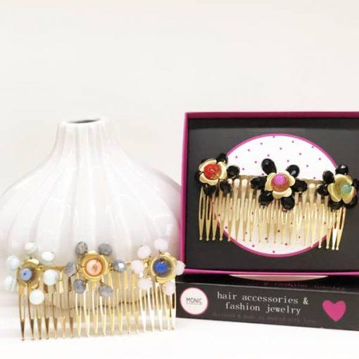 adornos de pelo en peineta con flores y piedras de cristal Swarovski