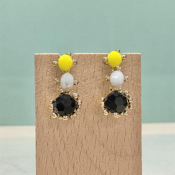 pendientes originales largos amarillos y negros para mujer a la moda de fiesta y boda