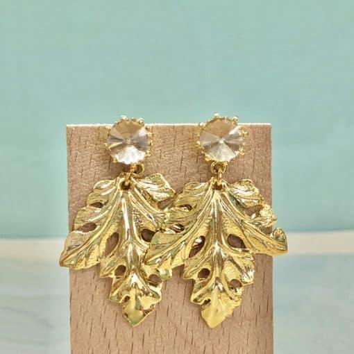 pendientes fiesta dorados con hoja colgante y cristal swarovski dorado ámbar champán