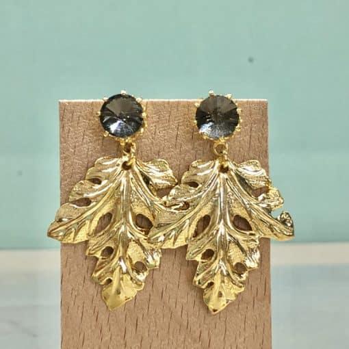 pendientes originales de fiesta boda con hoja colgante dorada y piedra de cristal swarovski gris negro noche
