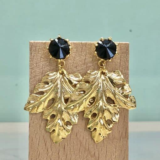 pendientes de bisutería para bodas mujer en dorados y negro con cristal swarovski y hoja colgante