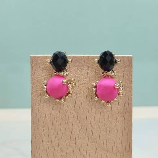 pendientes de fiesta para mujer a la moda negros con rosa flúor