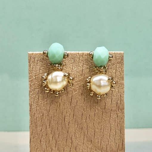 pendientes aguamarina verdeagua con perlas para mujer a la moda invitadas de boda
