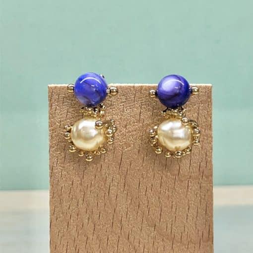 pendientes con perlas y piedra azul originales para fiesta y boda de mujer de moda