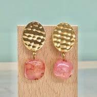 pendientes originales de mujer para fiestas con piedra colgante rosa rojo fresa