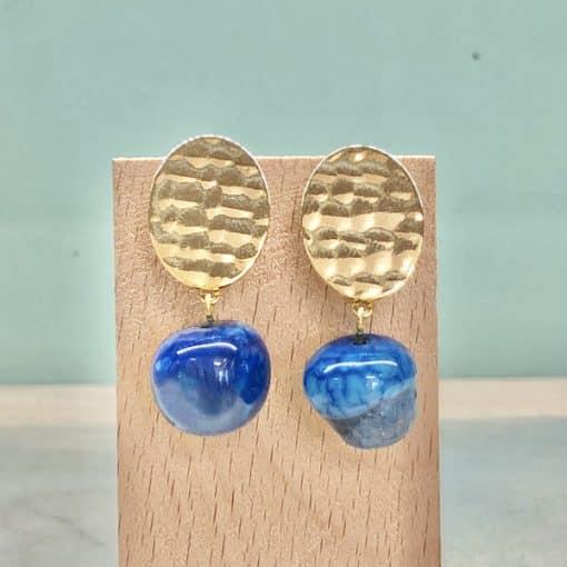 pendientes originales de mujer con gota colgante de piedra ágata azulón pavo azul eléctrico klein