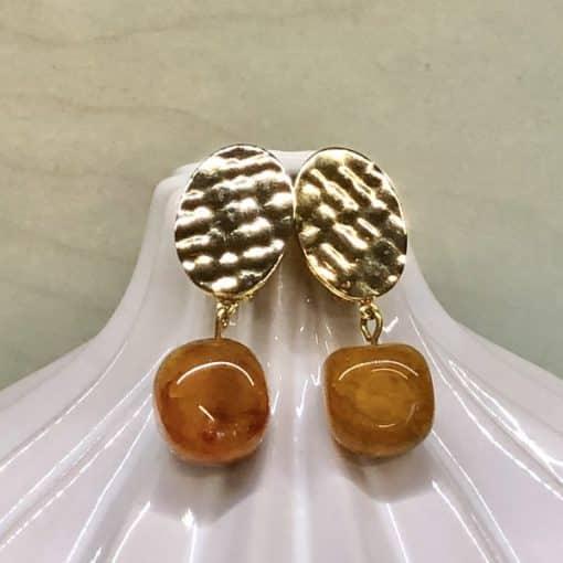 pendientes de fiesta para mujer a la moda con piedra colgante amarillo ámbar