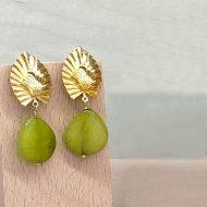 pendientes colgantes verde lima pistacho oliva kaki con dorado para invitadas fiesta boda