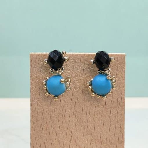 pendientes de moda originales para mujer dorados negros y azul flúor