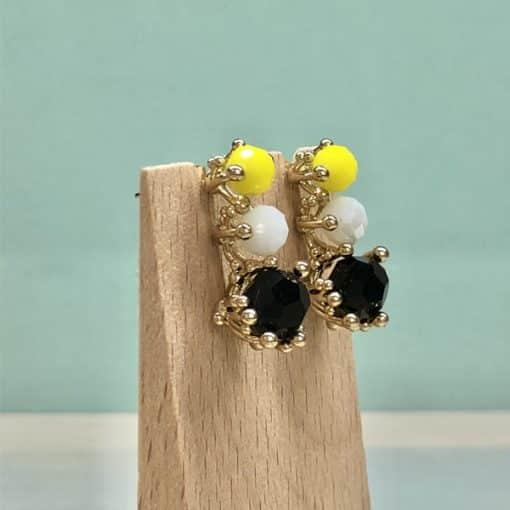 pendientes de fiesta para mujer elegantes amarillo blanco y negro