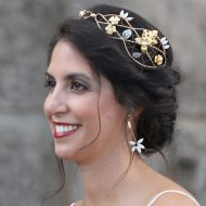 pendientes boda de bisutería para bodas largos con flores