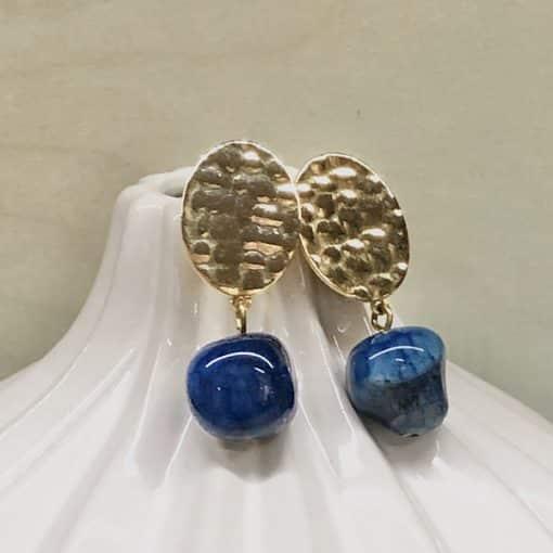 pendientes fiesta con piedra azul colgante y dorado para mujer a la moda