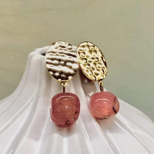 pendientes de fiesta originales y elegantes para mujer a la moda con piedra colgante ros rojo fresa
