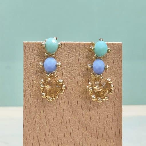 pendientes para fiesta largos con piedras cristal azul lavanda celeste verdeagua