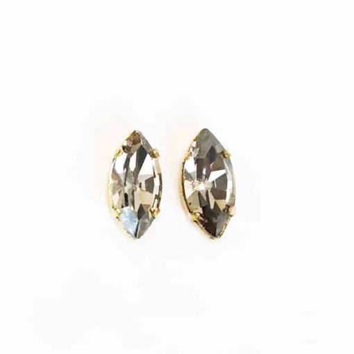 pendientes cortos pequeños grises vintage cristal swarovski invitada fiesta novias