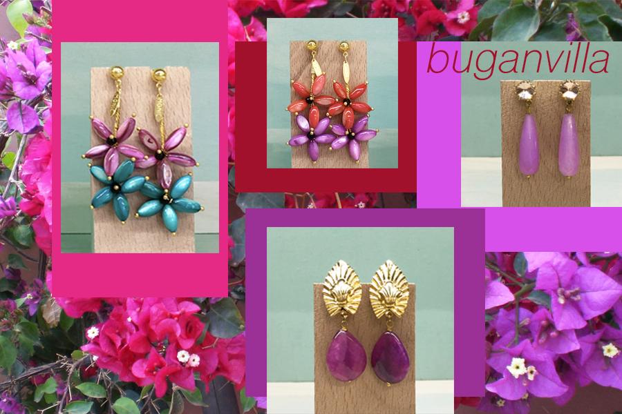 pendientes color buganvilla