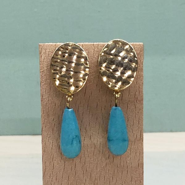 pendientes azul turquesa con piedras colgantes para madrinas invitadas fiesta boda