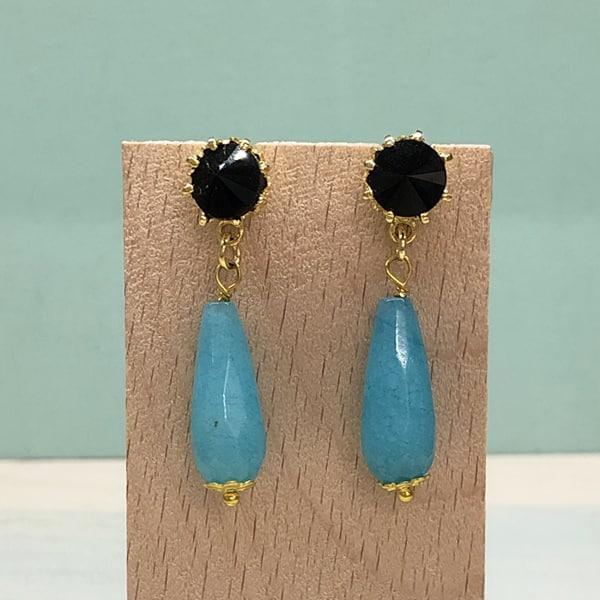 pendientes largos de bisutería para bodas con gota en piedras negro y azul turquesa