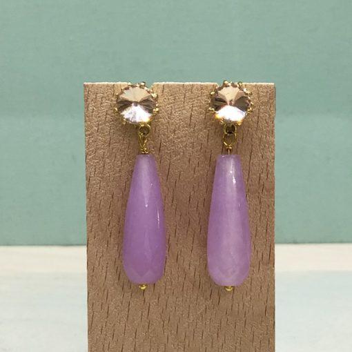 pendientes de fiesta y boda con piedras moradas lilas y cristal rosa nude cuarzo