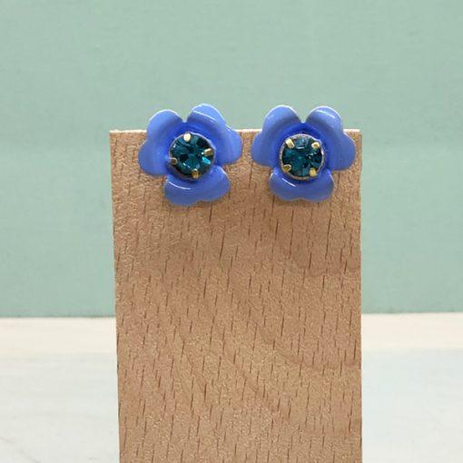 pendientes pequeños de moda y fiesta originales para mujer en esmalte color azul lavanda y cristal verde esmeralda