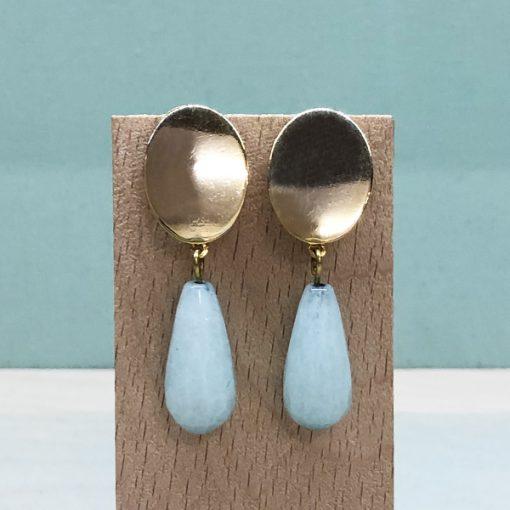 pendientes de moda para madrinas originales con piedras verde agua aguamarina azul turquesa y dorado
