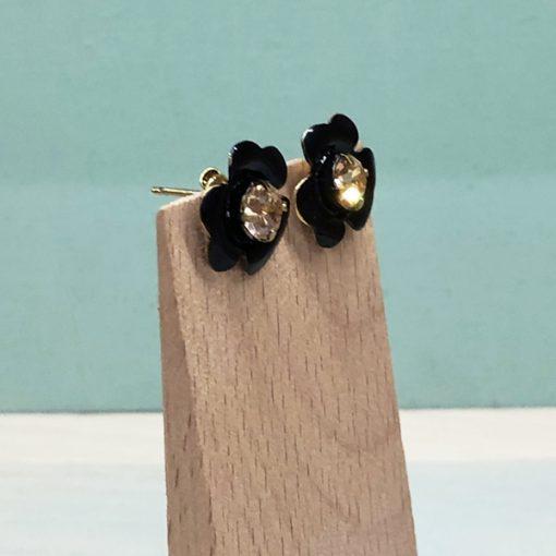 pendientes de fiesta sencillos y baratos color negro con esmalte y cristal swarovski dorado para mujer de moda