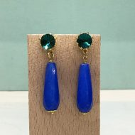 pendientes mujer de moda largos con gota azul azulón electrico klein y verde esmeralda para bodas