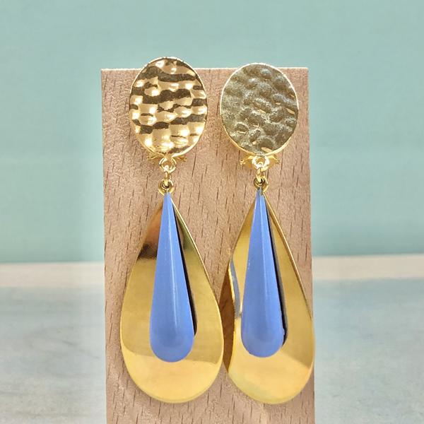 pendientes dorados de mujer moda fiesta con gota colgante de esmalte azul